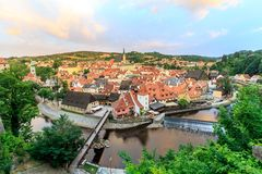 Top view Cesky Krumlov Castle with Tower in sunset. Czech Republic Royalty Free Stock Photo