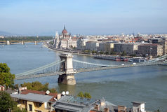 Top view of the Chain Bridge across the Danube in Budapest Royalty Free Stock Image