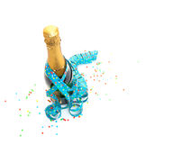 Top view of champagne bottle with confetti Stock Photography