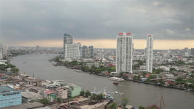 Top View of Chao Phraya river. Footage of Top View of Chao Phraya river stock video footage