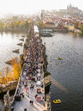 Top view on Charles Bridge in Prague Royalty Free Stock Photography