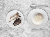 Poor meal of rice and fish bones. Royalty Free Stock Photo