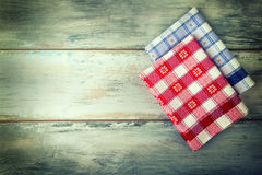 Top view of checkered napkin on wooden table Royalty Free Stock Photos
