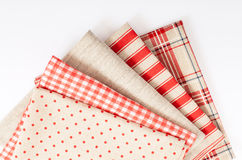 Top view of checkered tablecloth Royalty Free Stock Photos