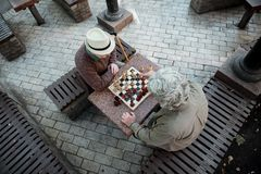 Pensive mature men entertaining with chessboard stock photography