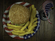 Top view of cheeseburgers Royalty Free Stock Photography