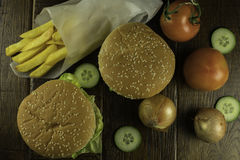 Top view of cheeseburgers Stock Image