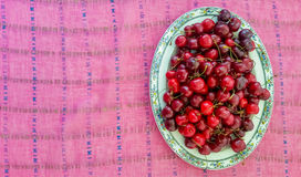 Top View of Cherries Stock Photo