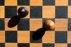 Top view Chess Bishops stand on a chessboard with shadows Royalty Free Stock Images