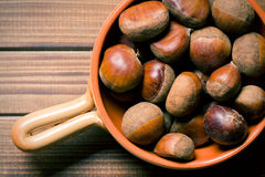 Top view of chestnuts Stock Images