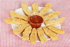 Top view chicken fingers with BBQ sauce Stock Photo
