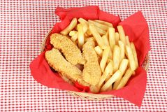 top view chicken fingers and french fries Stock Photography