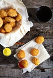 Top view of chicken nuggets on wood background Stock Photos