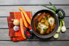 Top view of chicken soup Royalty Free Stock Photos