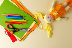 Top view children artwork workplace with creative accessories Stock Photo