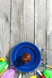 Top view children birthday table Chocolate muffin sparkler decor