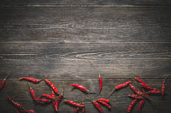 Top view of chili peppers Royalty Free Stock Images