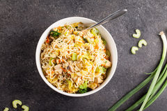 Top view of chinese chicken lo mein on concrete background Stock Images