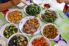 Top View of Chinese Family Food on Table. stock photo