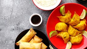 Chinese food set on stone table stock photography
