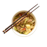 Top view of Chinese instant noodle in bowl. Stock Photo