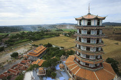 Top view of chinese pagoda wat tum khao noi temple in kanchaburi Stock Image