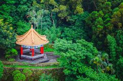Top view of chinese pavilion and temples at the chinese garden within a park with trees. A Top view of chinese pavilion and temples at the chinese garden within stock image