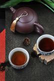 Top View of Chinese Tea Set Royalty Free Stock Images