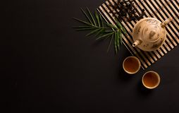 Top view of chinese tea setup Royalty Free Stock Photography