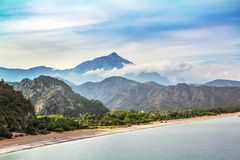 Top view of Chirali beach in Turkey and Tahtali Dag. Mountain Stock Images