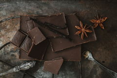 Top view. Chocolate bar. Dark chocolate Royalty Free Stock Images
