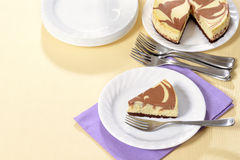 Top view chocolate cheesecake with fork Stock Image