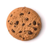 Top view of chocolate chip cookie. Isolatec on white Stock Images