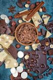 Top view of chocolate chips with pieces of dark and white bars with whole hazelnuts