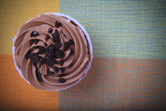Top view of chocolate cup cake on top table Royalty Free Stock Image