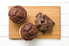 Top view of chocolate and muffin Stock Photos