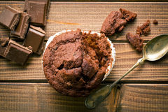 Top view of chocolate muffin and chocolate Royalty Free Stock Images