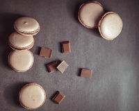 Top view of Chocolate pastel brown Macarons or Macaroons royalty free stock photography