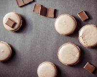 Top view of Chocolate pastel brown Macarons or Macaroons stock image