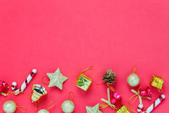 Top view Chrismas decoration and ornament on red background with Stock Photo