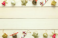Top view Chrismas decoration and ornament on wooden table with c Stock Image