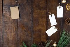 Top view Christmas background with price tag and decorations stock photography