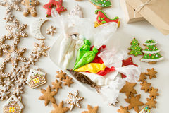 Top view of christmas bakes and pastry bags Stock Images