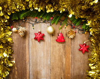 Top view of Christmas decoration with lights and free text space Stock Photo