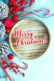 Top view Christmas decoration and ornament on light blue background. Top view Christmas decoration and ornament on light background Stock Photos