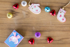 Top view christmas decoration on wood background Stock Image
