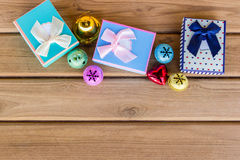 Top view christmas decoration on wood background Stock Photography
