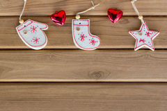 Top view christmas decoration on wood background Royalty Free Stock Image