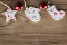 Top view christmas decoration on wood background Stock Photos