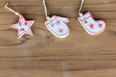 Top view christmas decoration on wood background. Top view white christmas decoration on wood background Royalty Free Stock Image